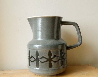 Vintage Ceramic 1970s Modern Grey Porcelain Pitcher with Black Geometric Design.