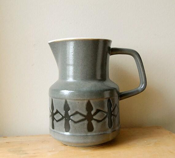 Vintage Ceramic Pitcher Grey Porcelain with Black Geometric Design.