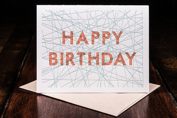 SALE Happy Birthday letterpress card - single