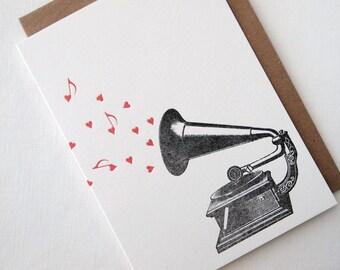 Letterpress Gramophone Love Note Greeting Card