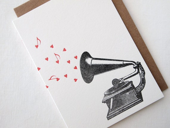 Letterpress Gramophone Love Note Greeting Card
