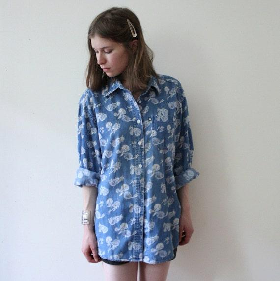 Vintage 80s Unisex Floral Denim Jean Button Up Shirt