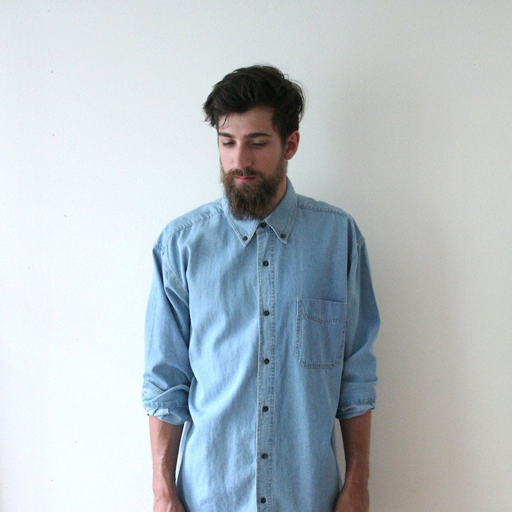 vintage 80s classic light denim button up shirt
