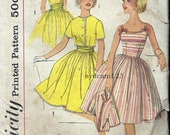 Vintage 1961 Full Skirt Sundress Cummerbund Belt...Cropped Button Front Jacket...Simplicity 3951 Bust 29