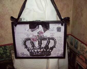 Carte Postale crown plaque,PARIS decor,Paris theme bedroom,Paris theme,Paris nursery decor,Paris bedroom decor,French bedrom