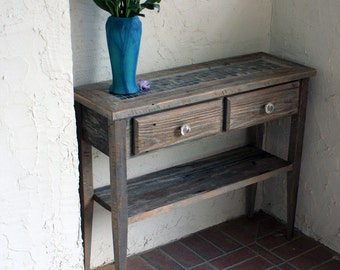 Beach Cottage Sofa Table.  Mosaic Entry Table. Neutral Sofa Table. Gray Reclaimed Wood Entry Table.  36 w x 12 d x 30 t.  Natural Finish.