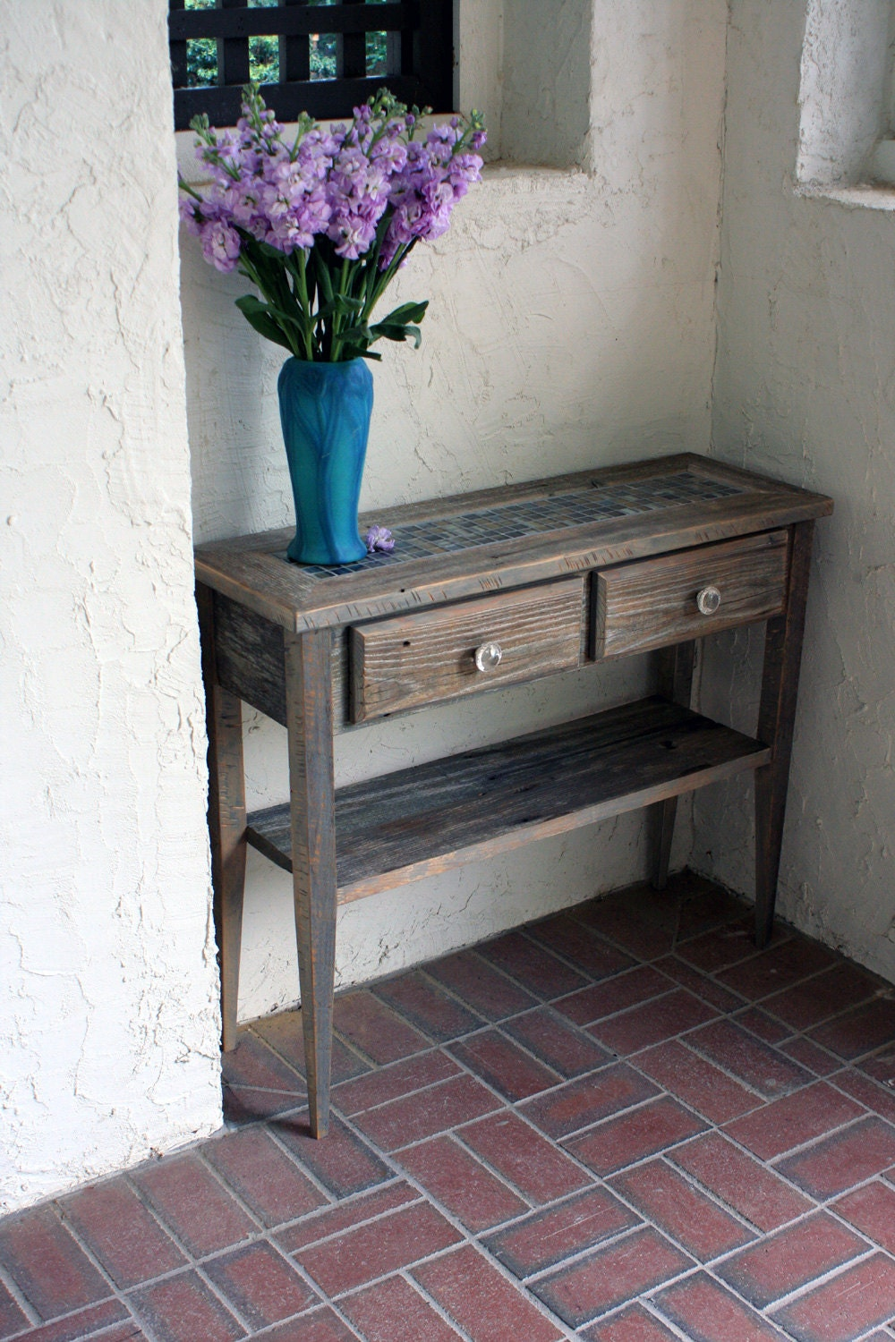 Grey Foyer Table : Small sofa entry table gray reclaimed by