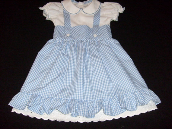 Girls Dorothy Wizard of Oz Inspired Blue Gingham Costume Party Dress Size 5