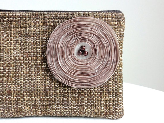 Brown Clutch Bag with Handmade Champagne Flower