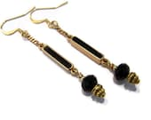 Vintage Restyled Black and Gold onyx Long dangle earrings