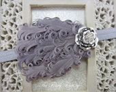 Gray Feather Headband, Gray Nagorie Feather Silver Gray Headband or Hair Clip, Baby Toddler Child Girls Headband Adult
