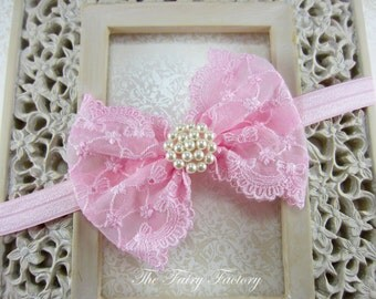 Pink Hair Bow - Pink Lace Hair Bow w/ Pearls Stretchy Headband or Clip  - The Sophia - Baby Toddler Girl