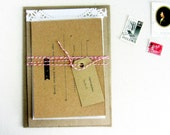 Wedding invitations,rustic sewn on doily detail,Surrey design - sample