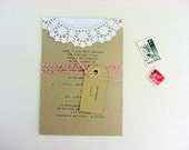 Wedding invitations,rustic sewn on doily detail,Surrey design - 50 suites
