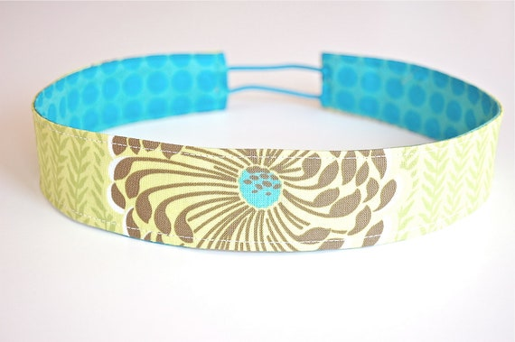 "READY to SHIP Handmade Reversible Soft ""SKINNY"" Headband - Lime and Stone Floral with Turquoise Dots"