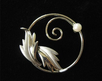 Curtman for Uncas Sterling Silver Pearl Brooch