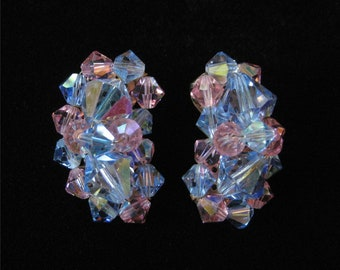 Pink and Blue AB Crescent Crystal Cluster Earrings
