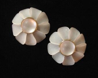 Palest Frosty Pink 2 Inch Plastic Flower Earrings