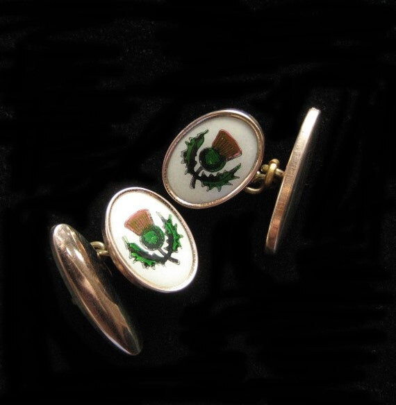 Scottish Thistle Chain Cuff Links, 1940's Chain Links