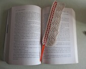 Hand Knit Lace Heart Bookmark