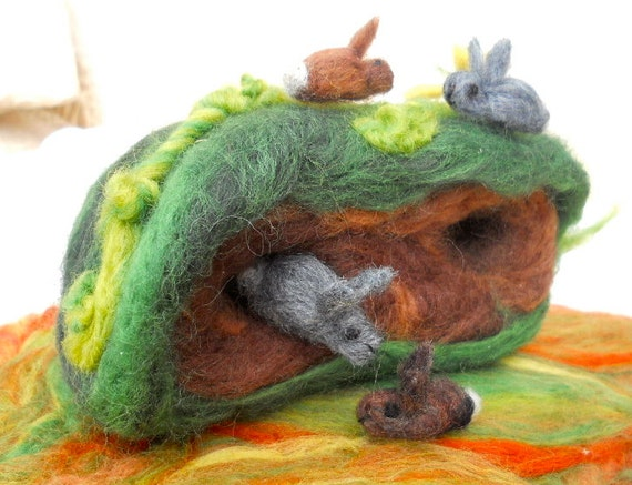 Playtime in The Rabbit Warren... A Needle Felted Scene-FREE Worldwide shipping