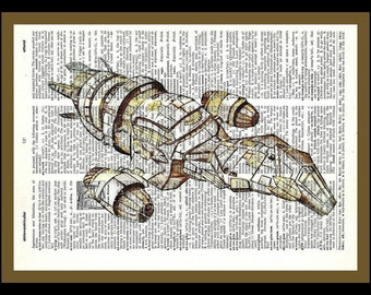 Buy Any 2 Prints get 1 Free  Firefly Serenity Ship  Drawn Vintage Dictionary Art