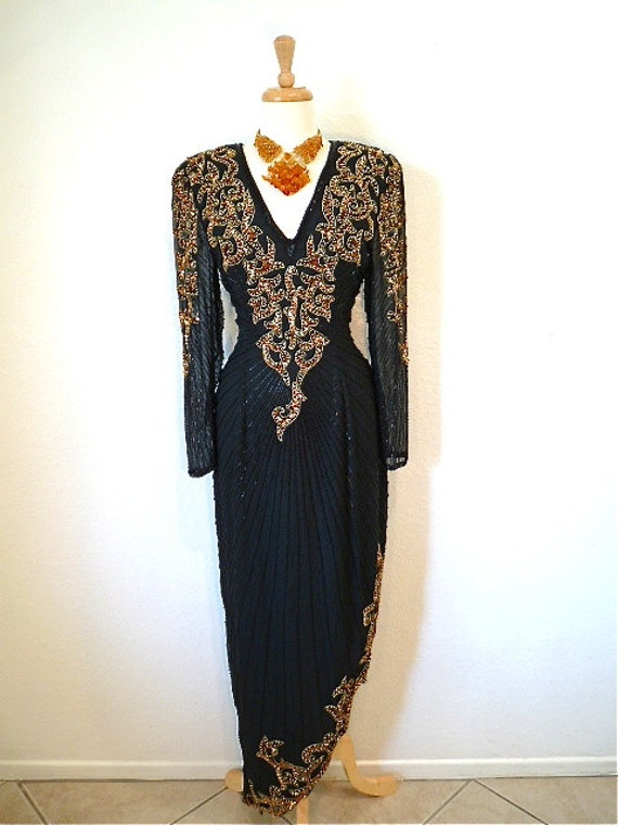 Vintage 1980s dress Black and Gold Beaded Sequins Asymmetrical Evening Silk Gown