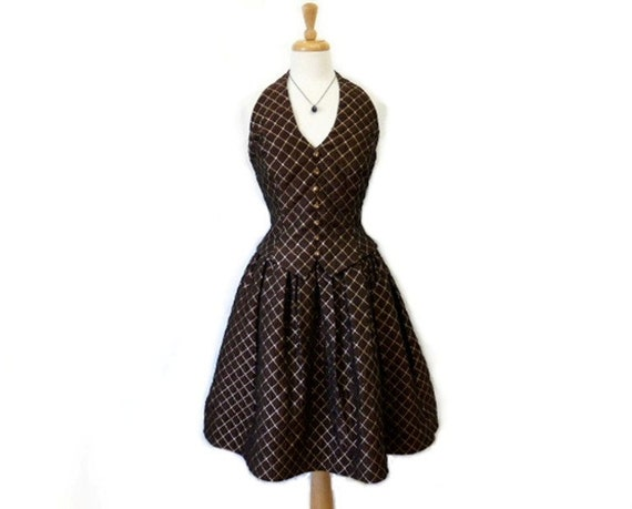 1980s Dress OSCAR De La RENTA Quilted Brown Gold Corset Halter Party Dress