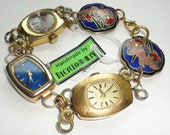 Recycled Vintage Watches Working Quartz Watch And Cloisonne Bracelet Handmade By Recycloanalyst