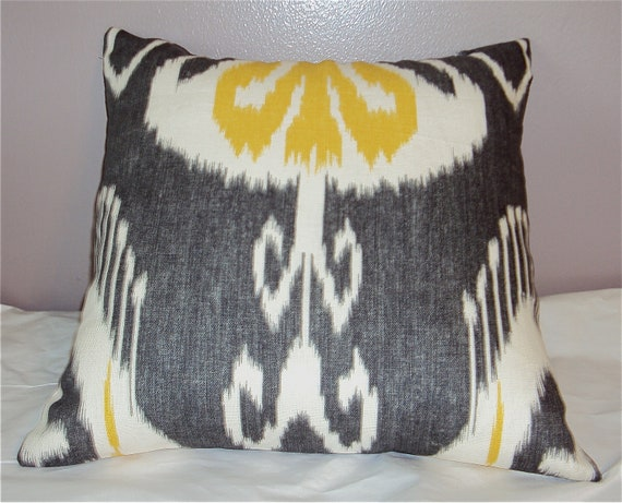 16x16 Mod Designer Ikat Fabric Pillow Cover - Citrine Yellow Gray and White - Free Shipping