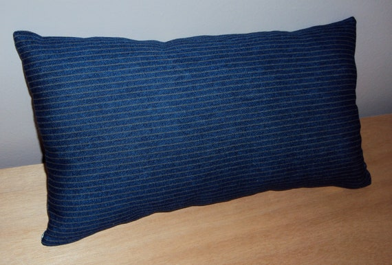 Clearance Navy Blue And Gray Pinstripe Cotton Fabric Lumbar