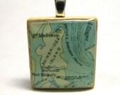 Bainbridge Island, Washington  - 1890 vintage Scrabble tile map pendant