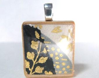 Black and white Asian design Scrabble tile pendant