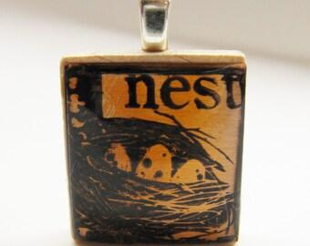 Nest in copper - Glowing metallic Scrabble tile pendant