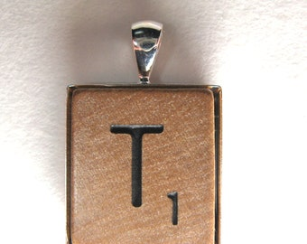 Scrabble tile pendant with your initial in silver frame