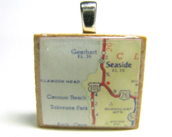 Seaside and Cannon Beach, Oregon - 1962 vintage Scrabble tile map pendant