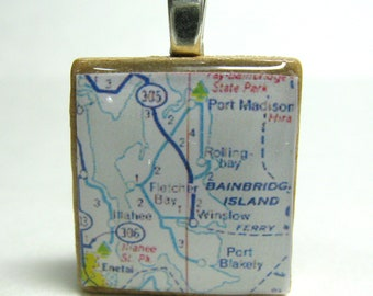 Bainbridge Island, Washington  - 1972 vintage Scrabble tile map pendant