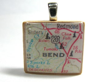 Bend, Oregon - 1988 Scrabble tile map pendant