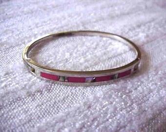 VIntage MEXICO SIlver  Abalone   Inlaid  Bangle Bracelet on Sale