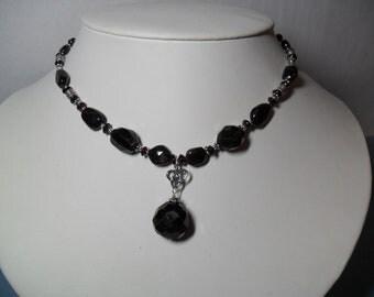 Garnet 925 Sterling Silver 18-20 in adjustable Necklace