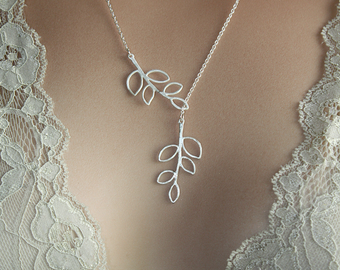 Silver Leaf Branches Lariat Necklace Leaves