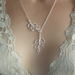Silver Leaf Branches Lariat Necklace Leaves,, bridesmaid jewelry