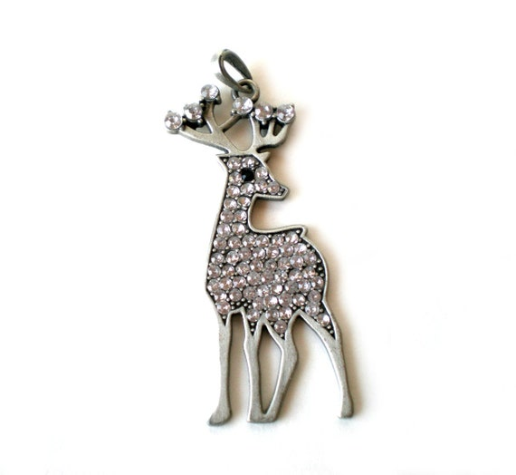 Reindeer Necklace Pendant, Christmas Jewelry, Holiday Jewelry, Rhinestone Deer