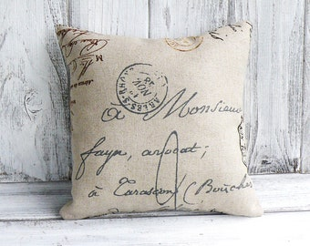 French script pillow with postal theme, designer fabric with script writing, stuffed throw cushion for home decor