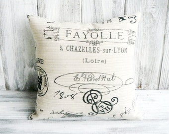 French postal pillow in soft grey linen with black antique script print - stuffed throw cushion for cottage chic home decor