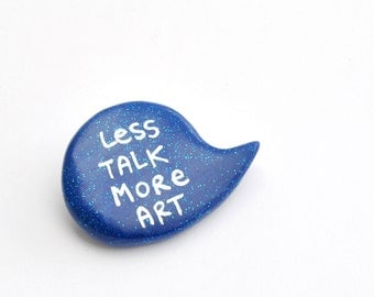 Monaco blue brooch polymer clay pin speech bubble