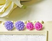 Purple Flower Post Earring Set. Petite. Romantic. Titanium Posts. Hypoallergenic