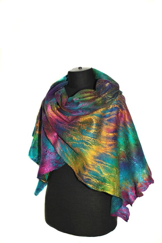 Scarf Cobweb Felted Scarf Wrap Multicolor Merino Wool Silk Felt Scarves