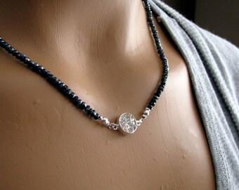 Black Necklace, Black Spinel Necklace, Sterling Silver, Black Gemstone Necklace, Black Diamond Like - Joy