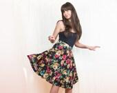 Black Floral Circle Skirt - Vintage Ruffle Skirt - M